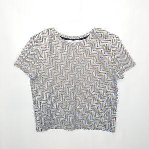 {Zara} Trafaluo Black Orange Stripe Crop Top Sz L